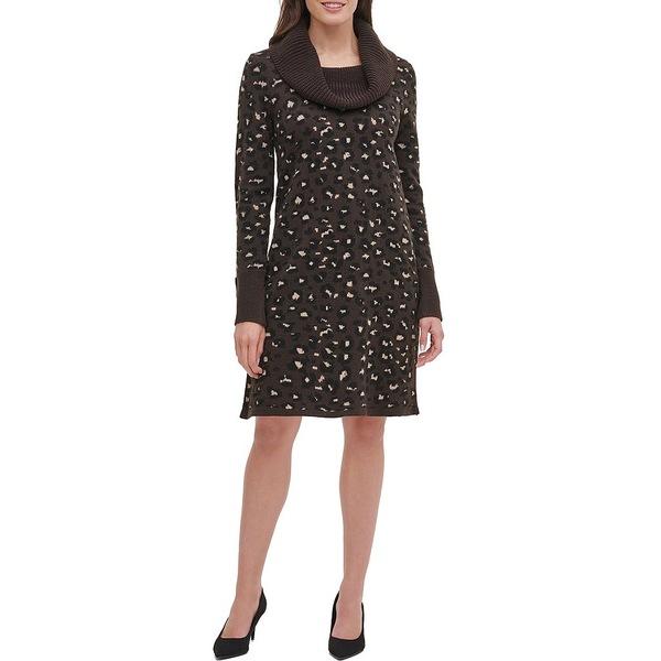 トミー ヒルフィガー レディース ワンピース トップス Cowl Neck Leopard Print Sweater Dress Mink Multi