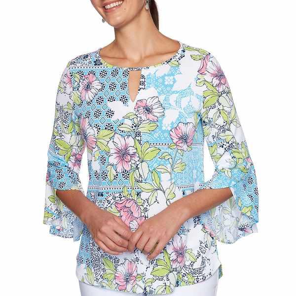 ルビーロード レディース シャツ トップス Stretch Crepe Knit Patchwork Medallion Floral Print Keyhole Flounce Sleeve Top Pool Multi