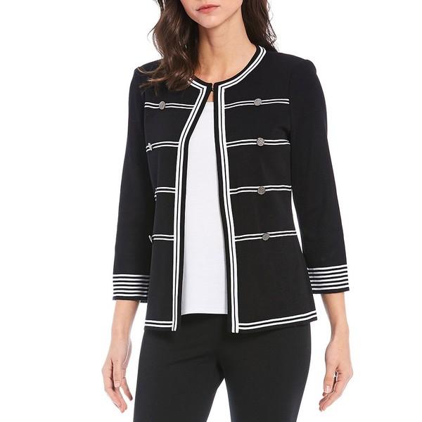 ミソーク レディース ジャケット&ブルゾン アウター Bracelet Sleeve Stripe Trim Classic Military Jacket Black/White