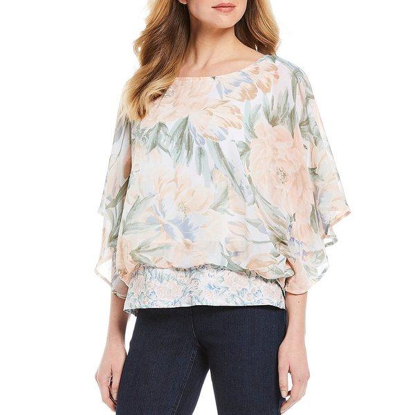 マルチプルズ レディース シャツ トップス Floral Print Round Neck 3/4 Sleeve Blouson Waist Butterfly Top Multi