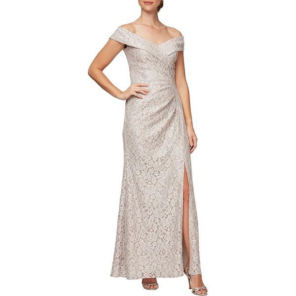 アレックスイブニングス レディース ワンピース トップス Sweetheart Off-The-Shoulder Front Slit Glitter Lace Gown Taupe