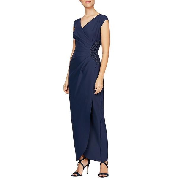 アレックスイブニングス レディース ワンピース トップス Petite Size Cap Sleeve Surplice Long Gown Navy