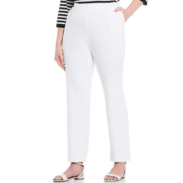 アリソンダーレイ レディース カジュアルパンツ ボトムス Plus Size San Remo Knit Pull-On Straight Leg Pants White