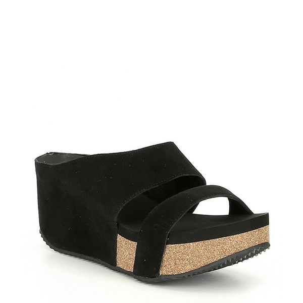 ボラティル レディース サンダル シューズ August Suede Leather Wedge Sandals Black