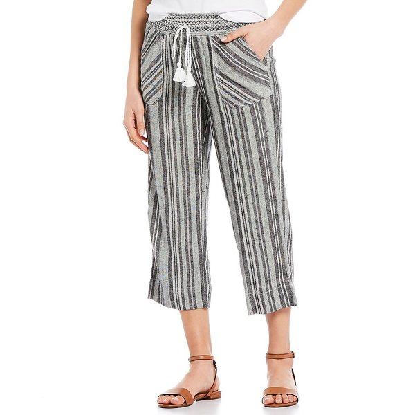 ウェストボンド レディース カジュアルパンツ ボトムス Black Stripe Linen Capri Pant Black/White Stripe