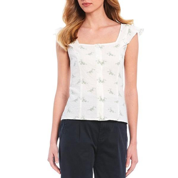 クレミュ レディース シャツ トップス Elita Dainty Floral Print Button Square Neck Cap Sleeve Cotton Blend Blouse Spruce/Ivory