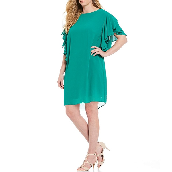 ヴィンスカムート レディース ワンピース トップス Plus Size Ruffled Short Sleeve Shift Dress Green