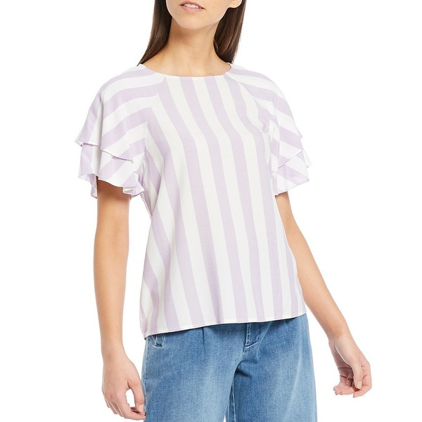 クレミュ レディース シャツ トップス Madisyn Stripe Short Ruffle Sleeve Blouse Lavender/Ivory