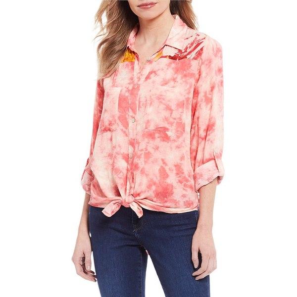 フィゲロア アンド フラワー レディース シャツ トップス Petite Size Margo Tie Dye Roll-Tab Sleeve Contrast Back Print Button Down Tie Front Shirt Bright Pink