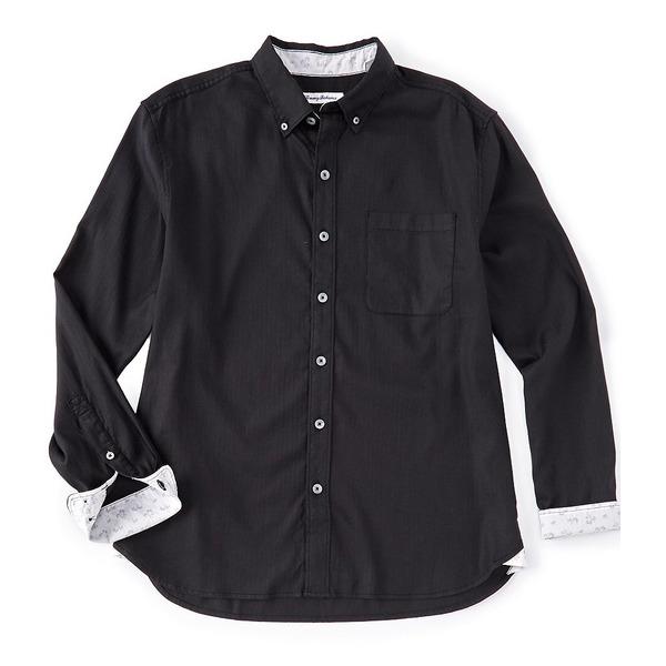 トッミーバハマ メンズ シャツ トップス Big & Tall Huntington Herringbone Long-Sleeve Woven Shirt Black