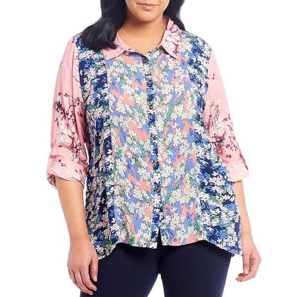 カレッサ レディース シャツ トップス Plus Size Button Front Long Roll-Tab Sleeve Floral Panel Shirt Pink Multi