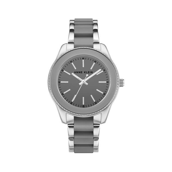 アンクライン レディース 腕時計 アクセサリー Silvertone & Gray Resin Bracelet Watch Grey