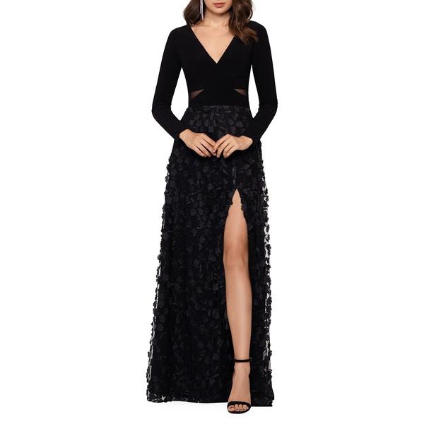 エスケープ レディース ワンピース トップス Floral Long-Sleeve Gown Black