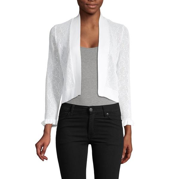 カルバンクライン レディース ニット&セーター アウター Crochet Open-Front Cropped Cardigan White