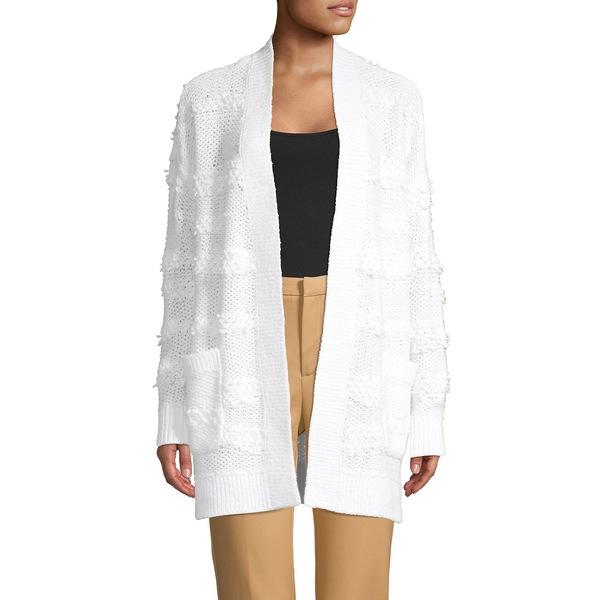 コアライフ レディース ニット&セーター アウター Loop-Stitched Cotton-Blend Cardigan White