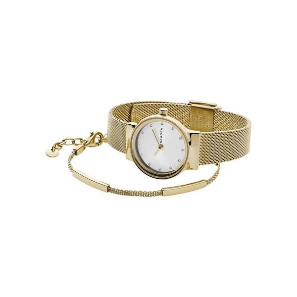 スカーゲン レディース 腕時計 アクセサリー Freja Steel-Mesh Watch & Merete Bracelet Box Set Gold