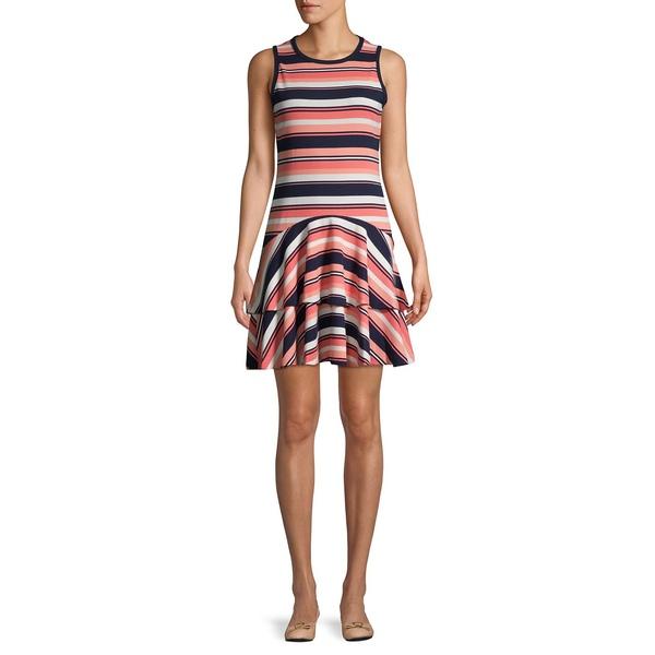 マイケルコース レディース ワンピース トップス Striped Tiered Hem Dress Coral Peach Stripe