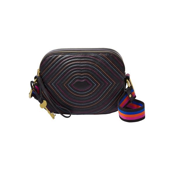 フォッシル レディース ショルダーバッグ バッグ Elle Leather Crossbody Bag Black