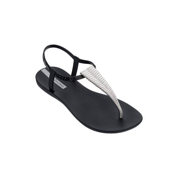 イパネマ レディース サンダル シューズ Ribba PVC T-Strap Sandals Black Silver