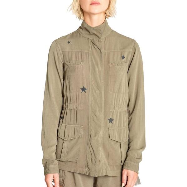 ピージェイサルベージ レディース コート アウター Star-Print High Neck Twill Jacket Olive