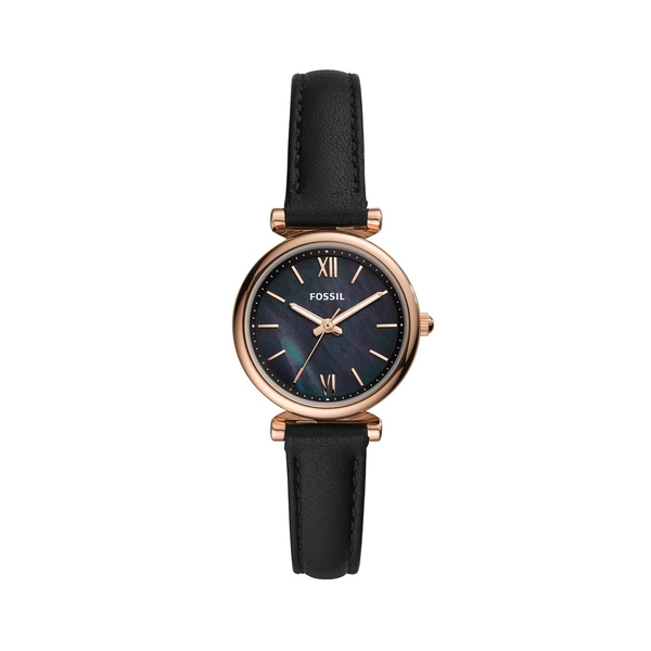フォッシル レディース 腕時計 アクセサリー Carlie Mini 3-Hand Goldtone Stainless Steel & Leather-Strap Watch Black