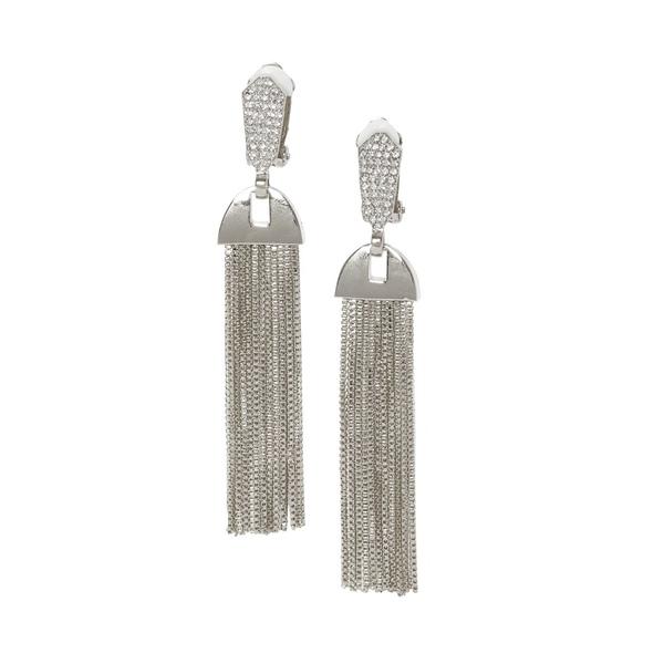 ヴィンスカムート レディース ピアス&イヤリング アクセサリー Crystal Tassel Earrings Silver