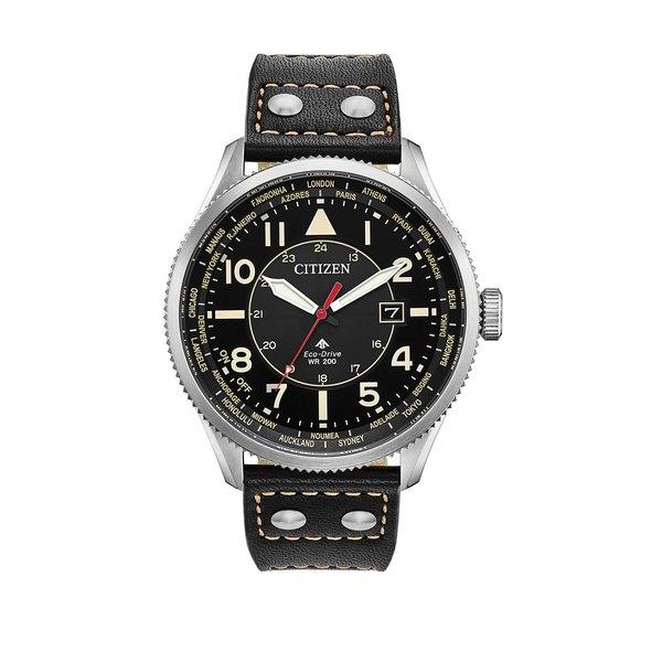 シチズン メンズ 腕時計 アクセサリー Promaster Nighthawk Stainless Steel & Leather-Strap Watch Black