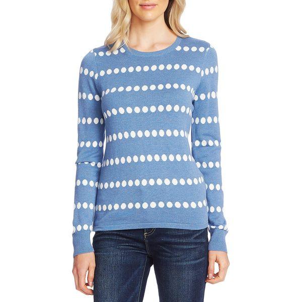 ヴィンスカムート レディース ニット&セーター アウター Polka Dot Jacquard Cotton-Blend Sweater Slate Heather