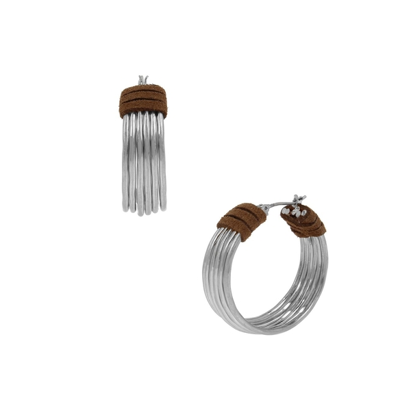 ロバートリーモリス レディース ピアス&イヤリング アクセサリー Silvertone & Suede Hoop Earrings Silver