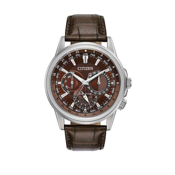 シチズン レディース 腕時計 アクセサリー Calendrier Stainless Steel and Leather Strap Watch Brown