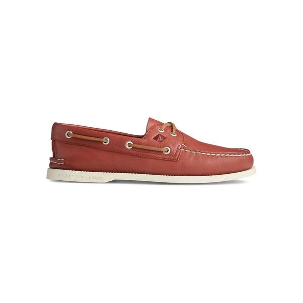 スペリー メンズ スリッポン・ローファー シューズ Authentic Original 2-Eye Whisper Leather Boat Shoes Red