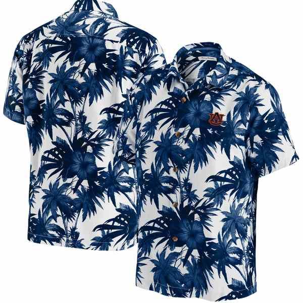 トッミーバハマ メンズ シャツ トップス Auburn Tigers Tommy Bahama Harbor Island Hibiscus ButtonUp Shirt Navy