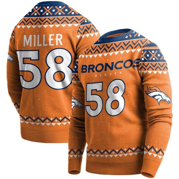 フォコ メンズ シャツ トップス Von Miller Denver Broncos Player Name & Number Pullover Sweater Orange