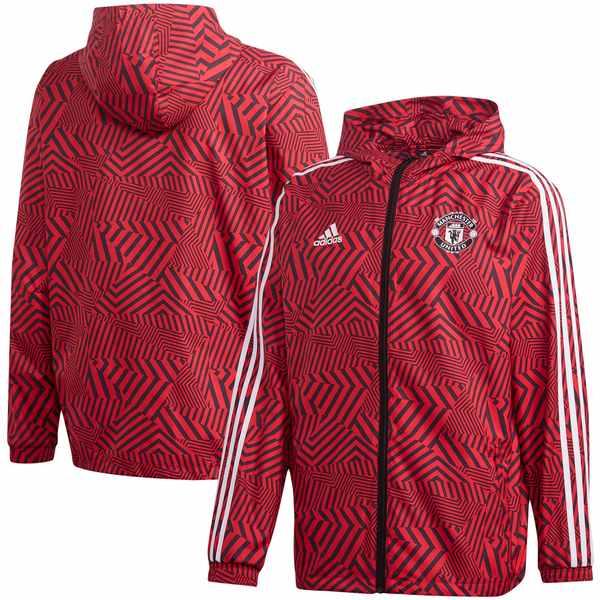 アディダス メンズ ジャケット&ブルゾン アウター Manchester United adidas FullZip Windbreaker Jacket Red