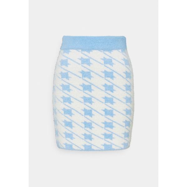 グラマラス レディース ボトムス デポー スカート blue cream 全商品無料サイズ交換 HOUNDSTOOTH - KNIT Mini skirt SKIRT お気に入り vuxb015f