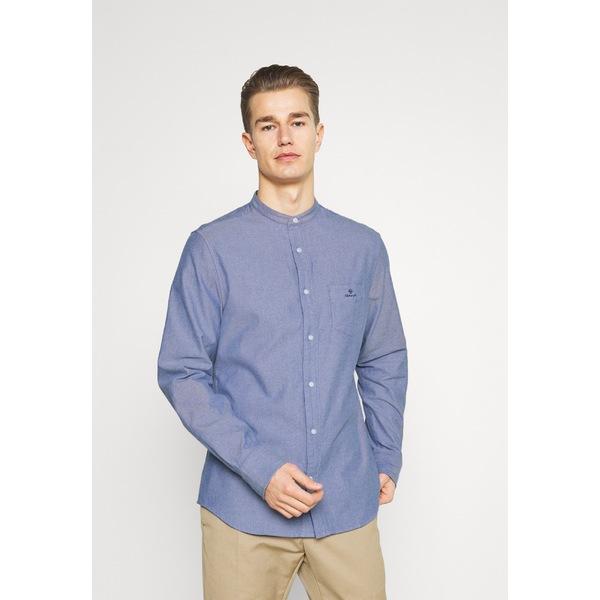 日本 ガント メンズ トップス シャツ college blue 全商品無料サイズ交換 BRUSHED - vuxb015f COLLAR Shirt SLIM BAND ◆高品質