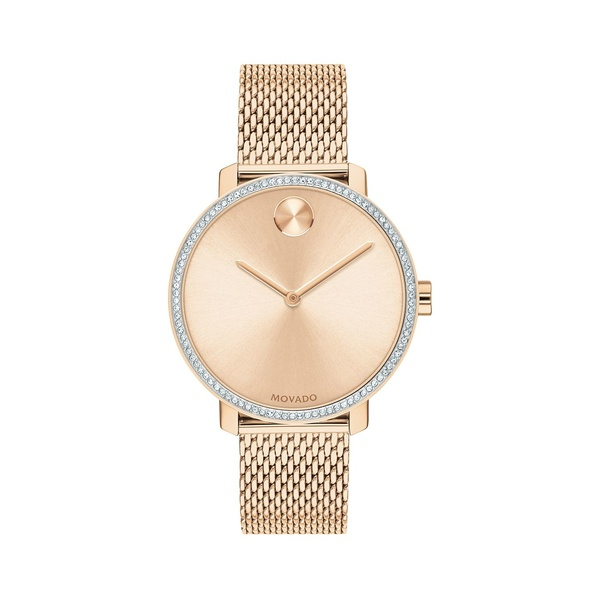 モバド レディース 腕時計 アクセサリー Bold Rose Gold Ion-Plated Stainless Steel, Crystal & Mesh-Link Bracelet Watch Rose Gold