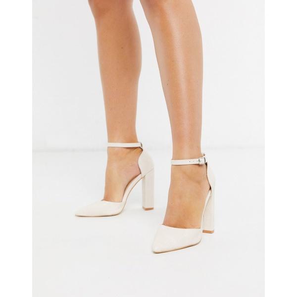 パブリックデザイア レディース ヒール シューズ Public Desire Sofia heeled shoe in white croc Ecru/ white reptile