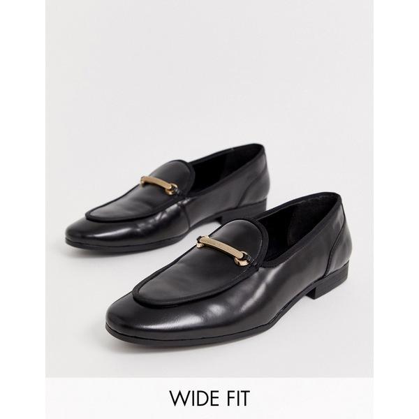 エイソス メンズ スリッポン・ローファー シューズ ASOS DESIGN Wide Fit loafers in black leather with gold snaffle Black