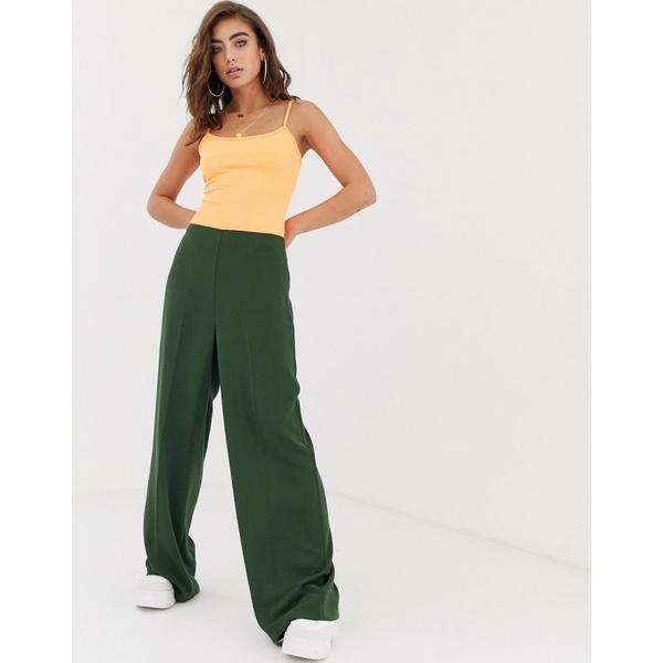 エイソス レディース カジュアルパンツ ボトムス ASOS DESIGN wide leg pants with clean high waist Khaki