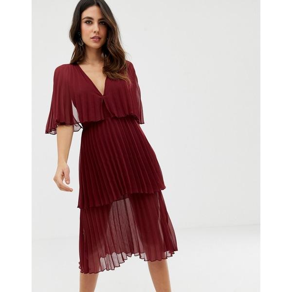 エイソス レディース ワンピース トップス ASOS DESIGN soft pleated tiered midi dress Oxblood
