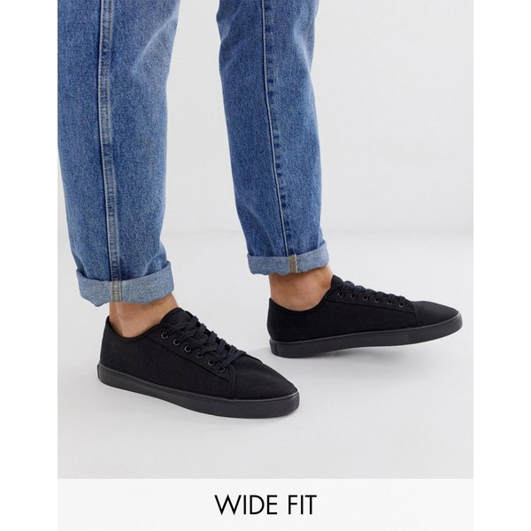 エイソス メンズ スニーカー シューズ ASOS DESIGN Wide Fit sneakers in black canvas Black