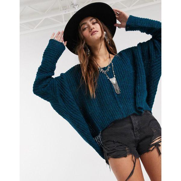 フリーピープル レディース ニット&セーター アウター Free People moonbeam v neck sweater in blue Navy