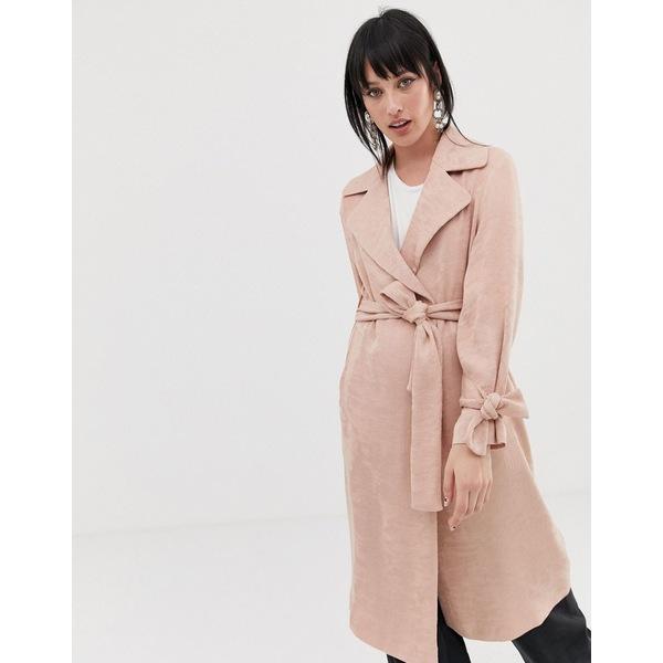エイソス レディース コート アウター ASOS DESIGN plisse textured coat Blush