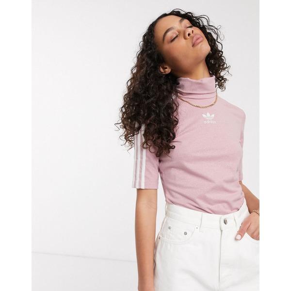 アディダスオリジナルス レディース Tシャツ トップス adidas Originals premium trefoil cropped t-shirt in Pink Pink