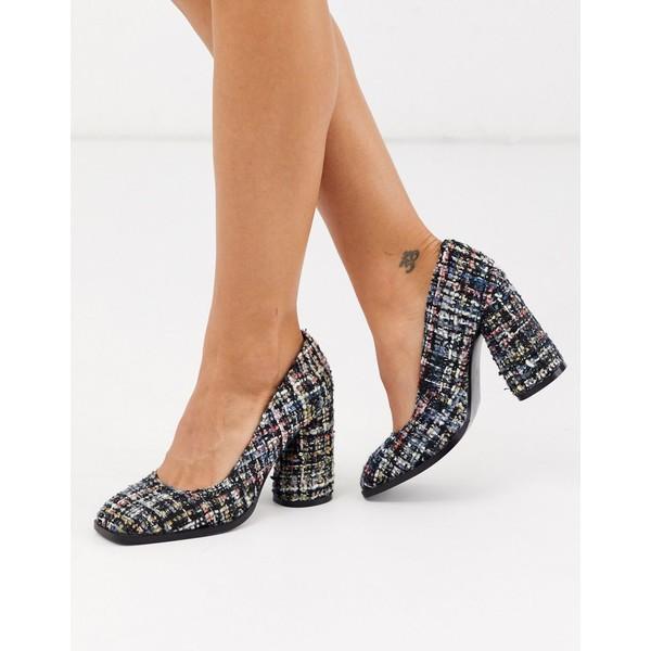 エイソス レディース ヒール シューズ ASOS DESIGN Pinky square toe block heeled pumps in tweed Tweed