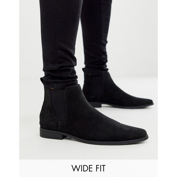 エイソス メンズ ブーツ&レインブーツ シューズ ASOS DESIGN Wide Fit chelsea boots in black faux suede Black