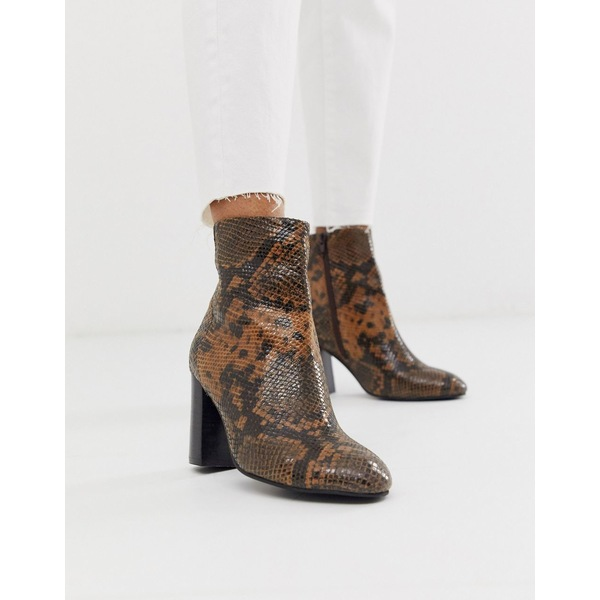 エイソス レディース ブーツ&レインブーツ シューズ ASOS DESIGN Rescue leather block heel boots in snake Tan snake leather