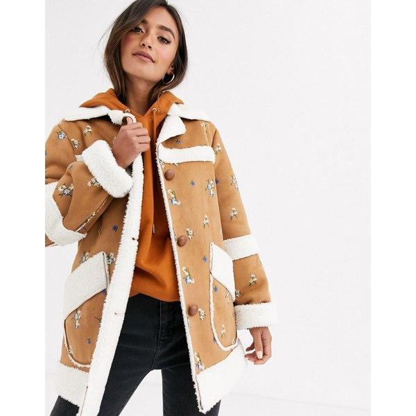 エイソス レディース ジャケット&ブルゾン アウター ASOS DESIGN suedette jacket with floral embroidery Tan