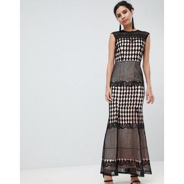 リトルミストレス レディース ワンピース トップス Little Mistress Crochet Maxi Dress Black